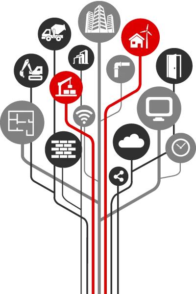 Diagrama en forma de árbol que conecta iconos de la construcción e iconos de nuevas tecnologías