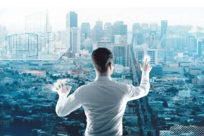 Ejecutivo interactuando con una ciudad virtual y dirigiendo un proyecto BIM
